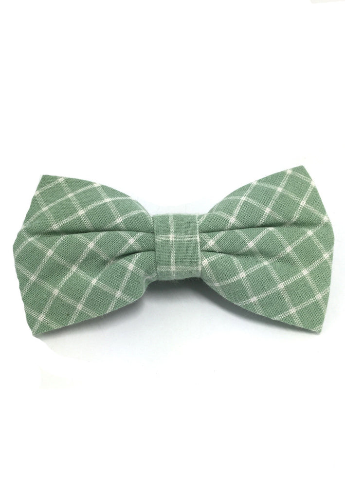 Probe Series Green and White Checked Design Cotton Pre-tied Bow Tie