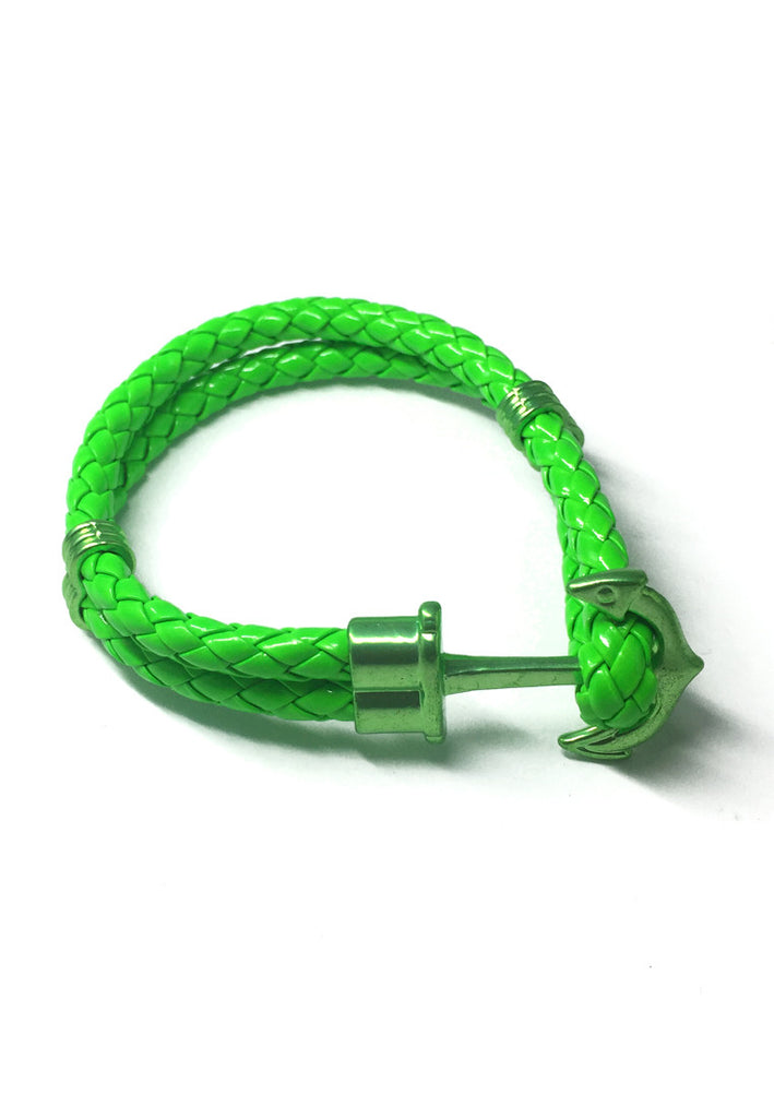 Grapple Series Bright Green PU Leather Green Anchor Bracelet