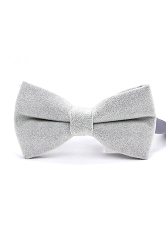 Suede Series Light Grey Velvet Bow Tie