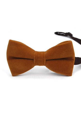 Suede Series Kaki Brown Velvet Bow Tie