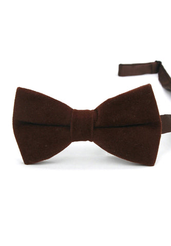 Suede Series Dark Brown Velvet Bow Tie