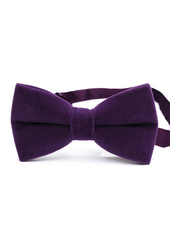 Suede Series Dark Purple Velvet Bow Tie