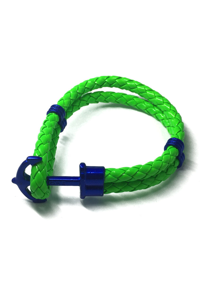 Grapple Series Bright Green PU Leather Electric Blue Anchor Bracelet