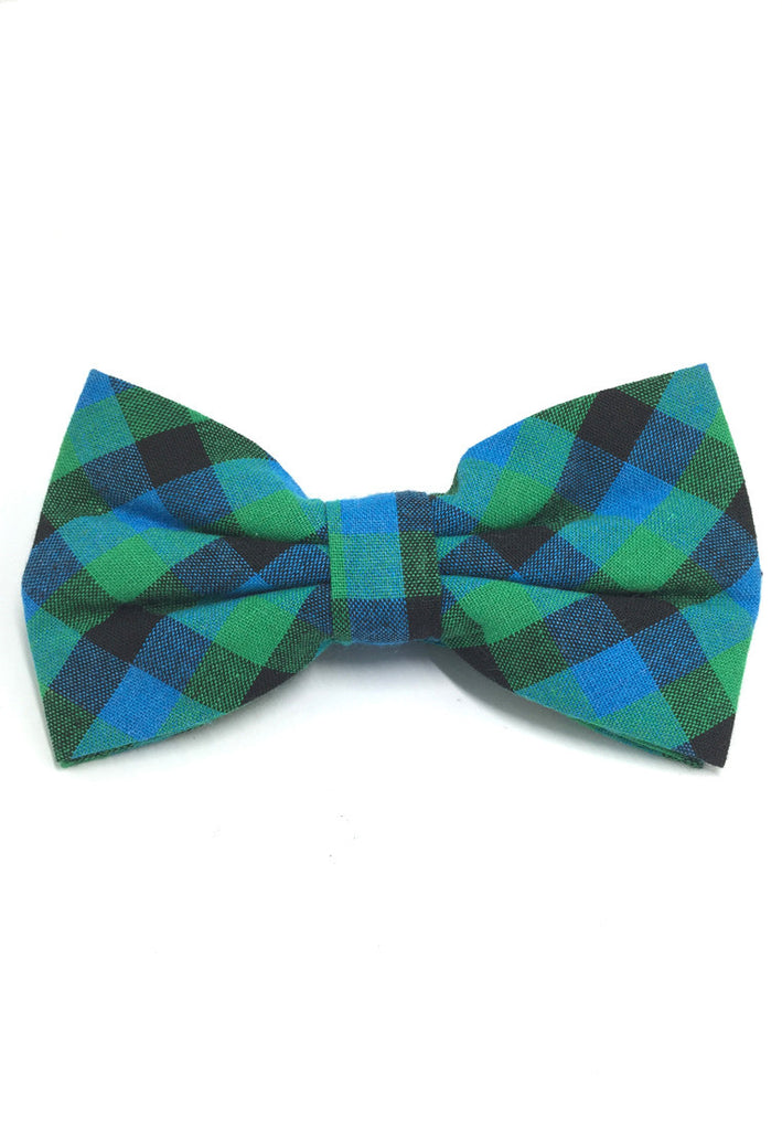 Probe Series Green, Blue and Black Checked Design Cotton Pre-tied Bow Tie