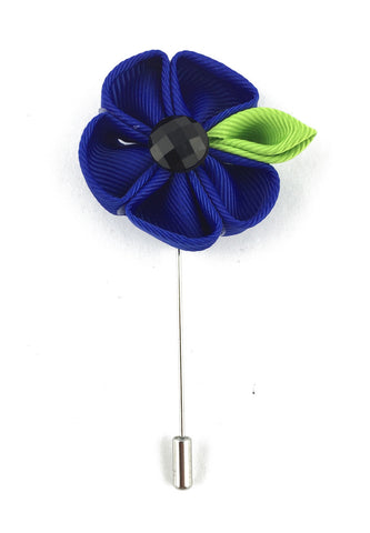Blue Fabric Flower Lapel Pin