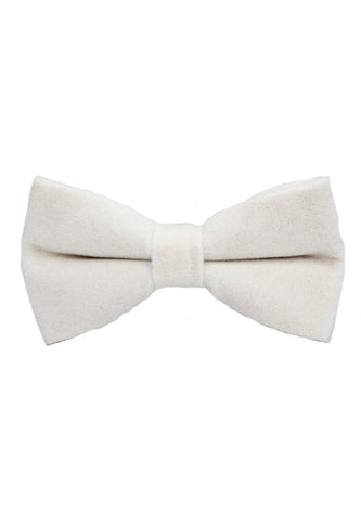 Suede Series White Velvet Bow Tie