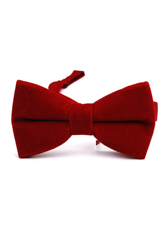 Suede Series Dark Red Velvet Bow Tie