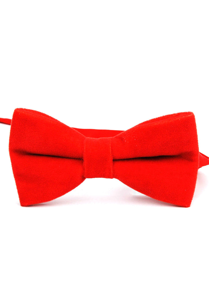 Suede Series Light Red Velvet Bow Tie