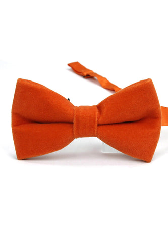 Suede Series Orange Velvet Bow Tie