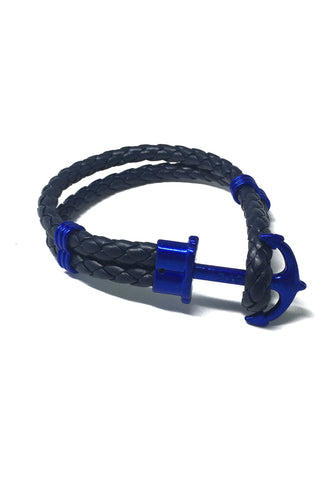 Grapple Series Dark Blue PU Leather Electric Blue Anchor Bracelet