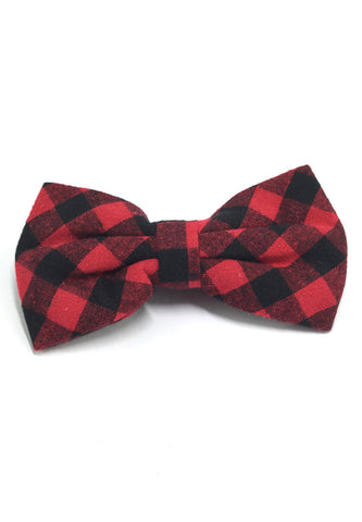 Probe Series Red and Black Checked Design Cotton Pre-tied Bow Tie