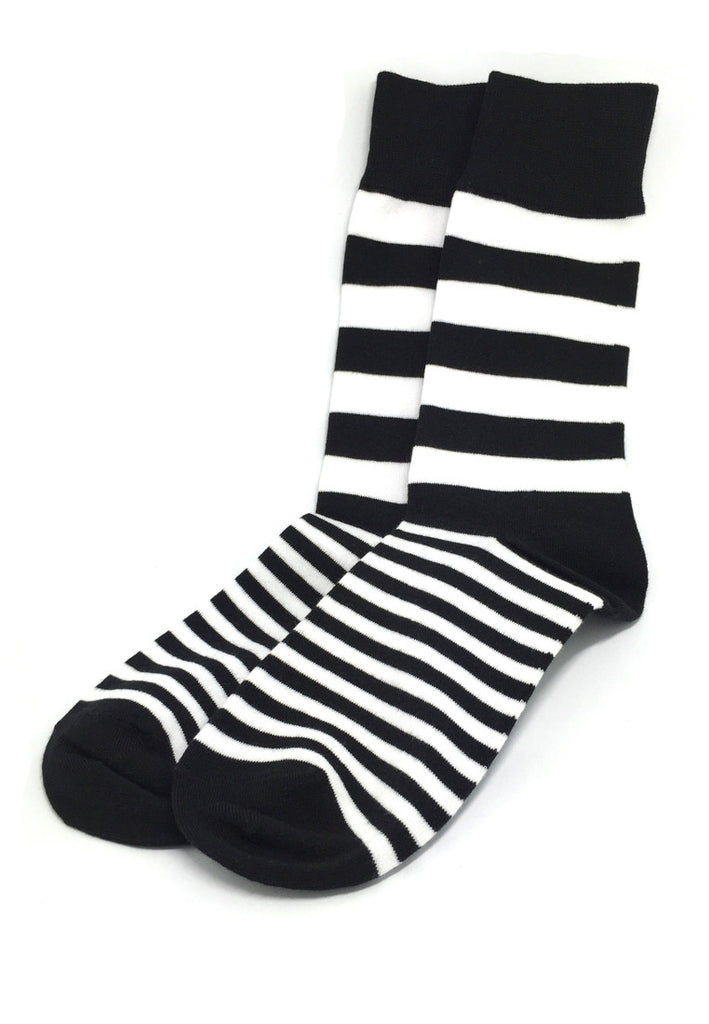 Constable Series Black and White Horizontal Stripes Socks