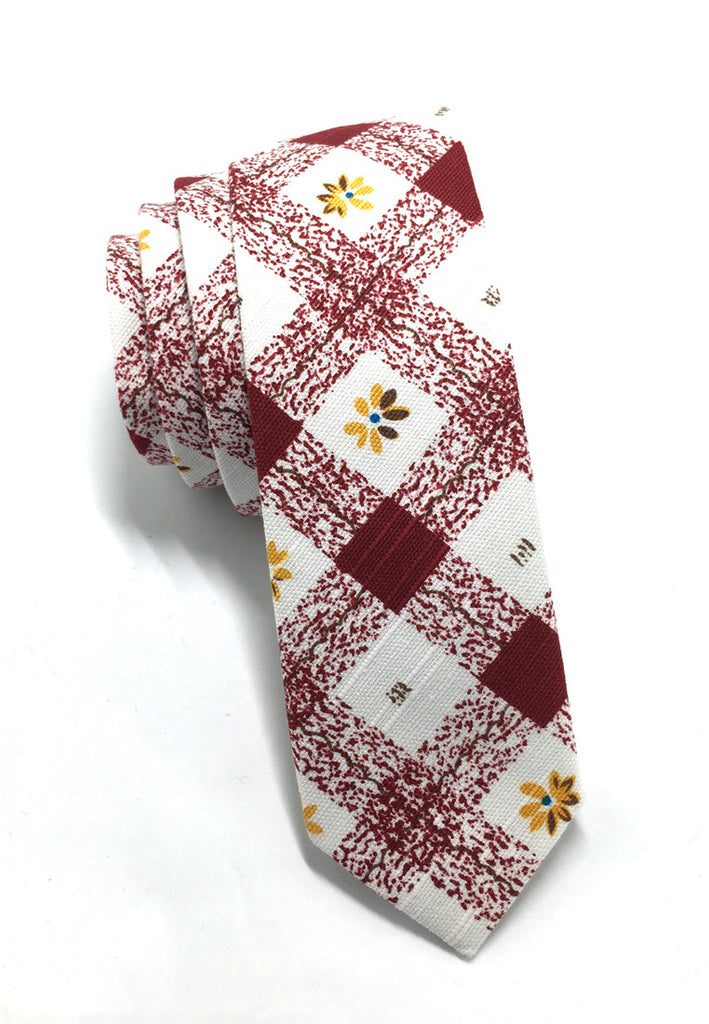 Potpurri Series Red Cubes with Flower Design Cotton Tie