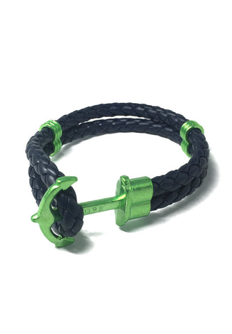 Grapple Series Dark Blue PU Leather Green Anchor Bracelet