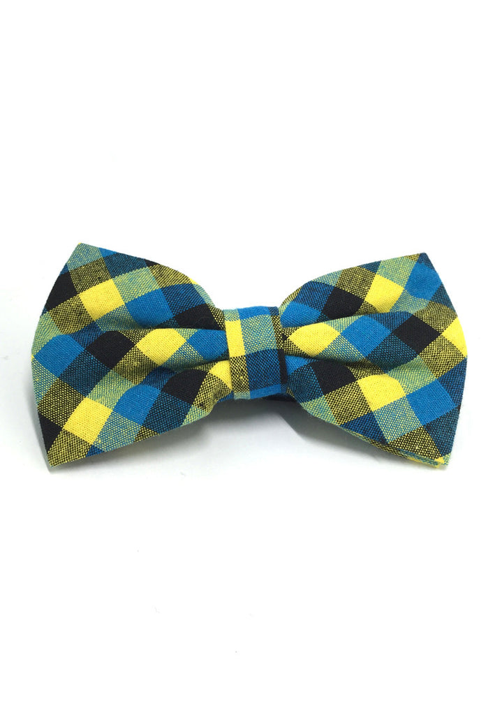 Probe Series Blue, Yellow and Black Checked Design Cotton Pre-tied Bow Tie
