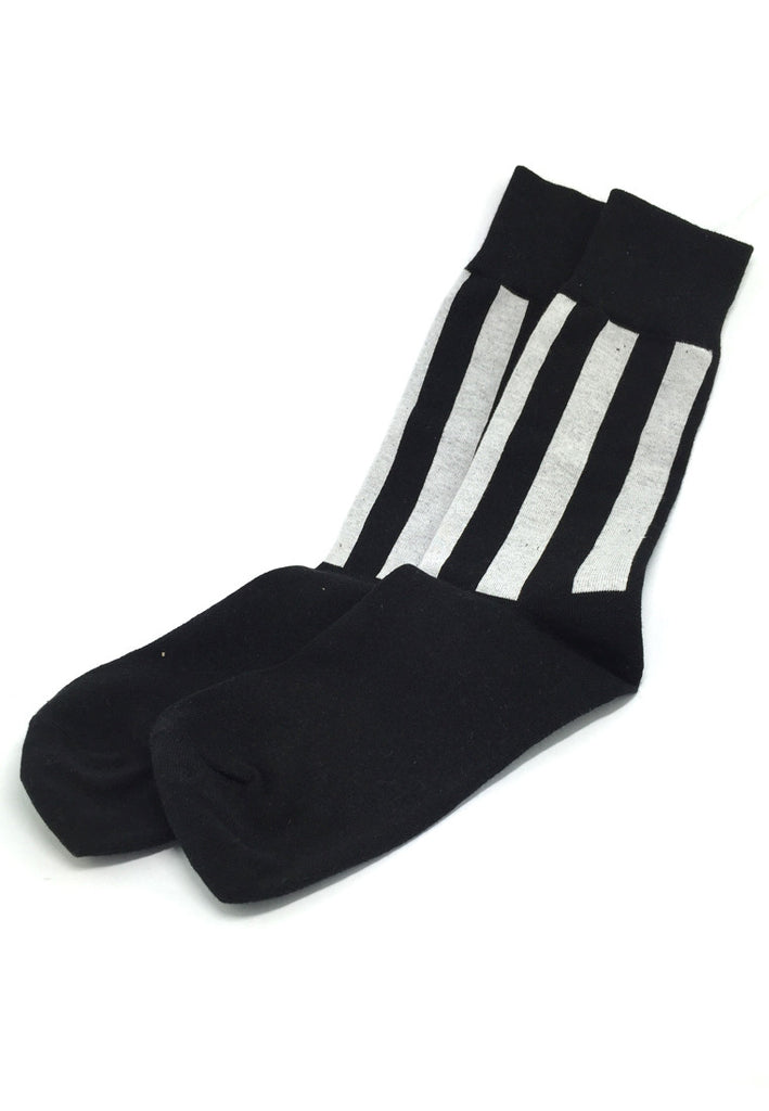 Constable Series Black and White Vertical Stripes Socks