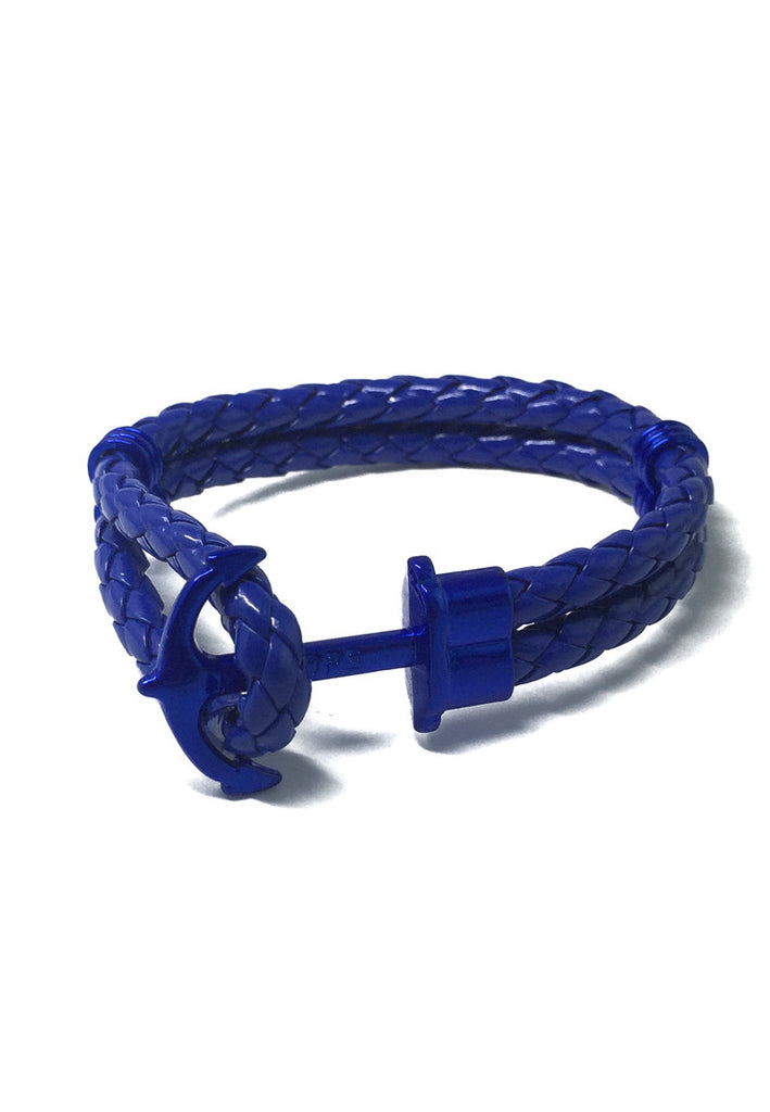 Grapple Series Blue PU Leather Electric Blue Anchor Bracelet