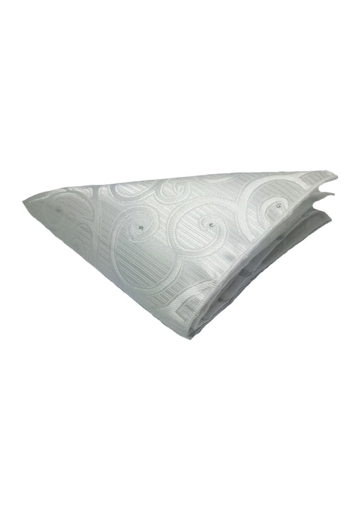 Dynamic Series Electric White Patterned Polyester Pocket Square