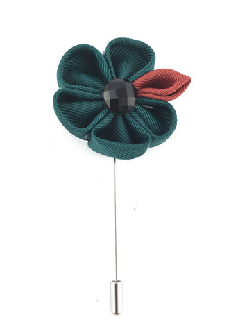 Dark Green Fabric Flower Lapel Pin