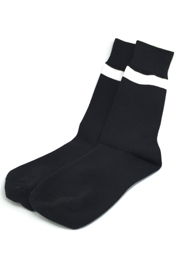 Constable Series Black and White Single Stripe Socks