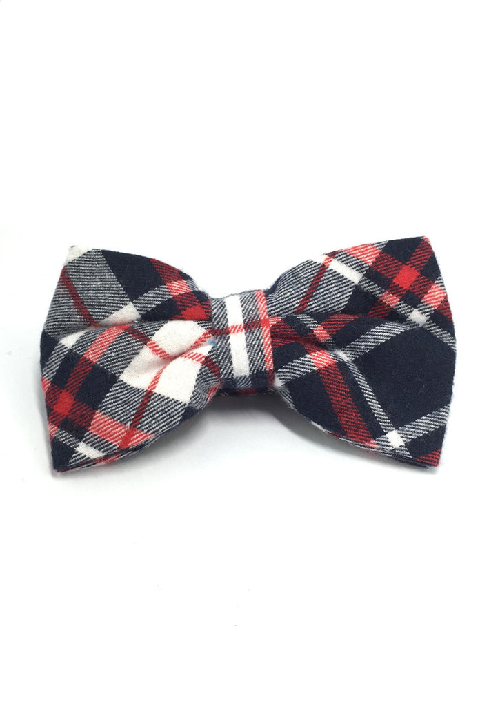 Probe Series Black, Red and Blue Tartan Design Cotton Pre-tied Bow Tie