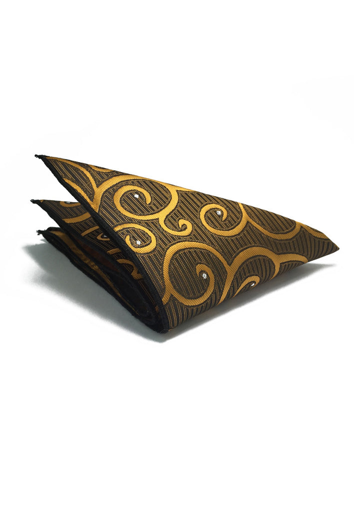 Dynamic Series Electric Gold Patterned Polyester Pocket Square