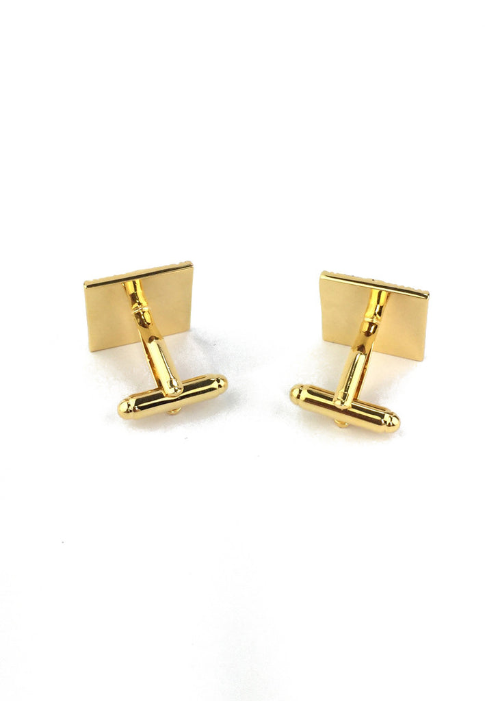 Square Gold Luxurious with Blue Polka Dots Cufflinks