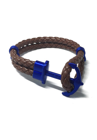 Grapple Series Brown PU Leather Electric Blue Anchor Bracelet