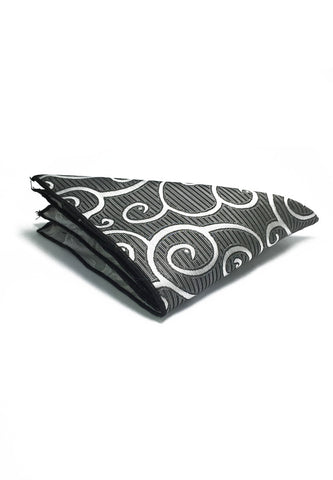 Dynamic Series Electric Silver Patterned Polyester Pocket Square