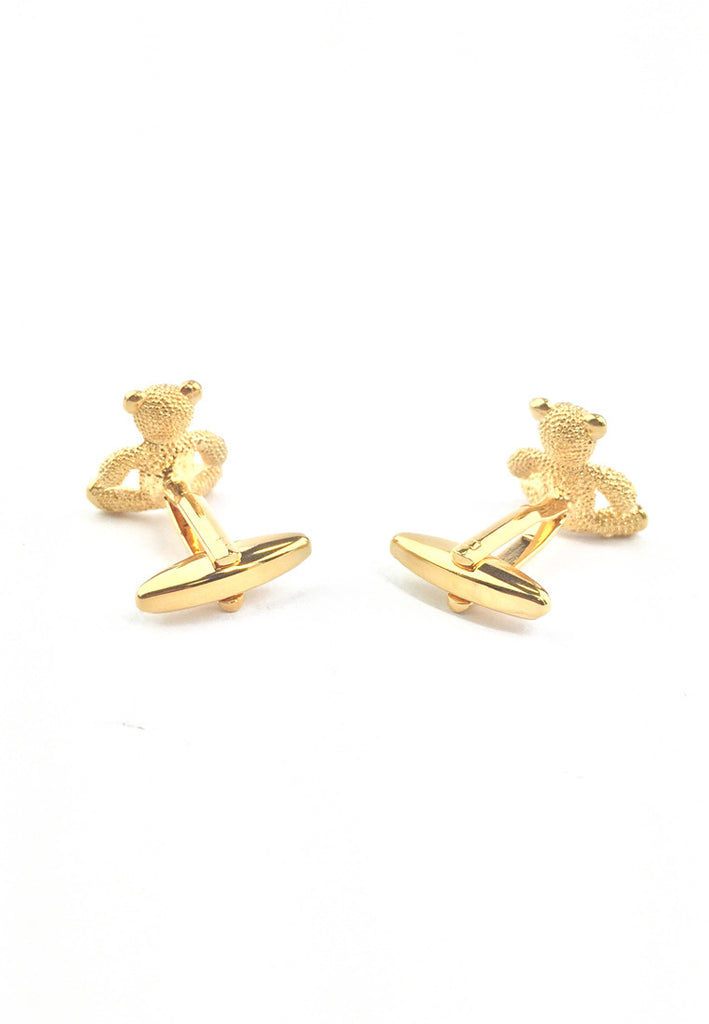 Gold Sitting Teddy Bear Cufflinks