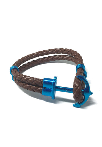 Grapple Series Brown PU Leather Turquoise Blue Anchor Bracelet