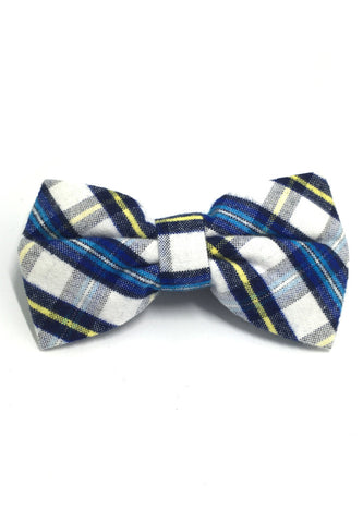 Probe Series Blue, White and Yellow Tartan Design Cotton Pre-tied Bow Tie