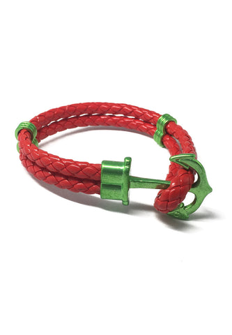 Grapple Series Red PU Leather Green Anchor Bracelet