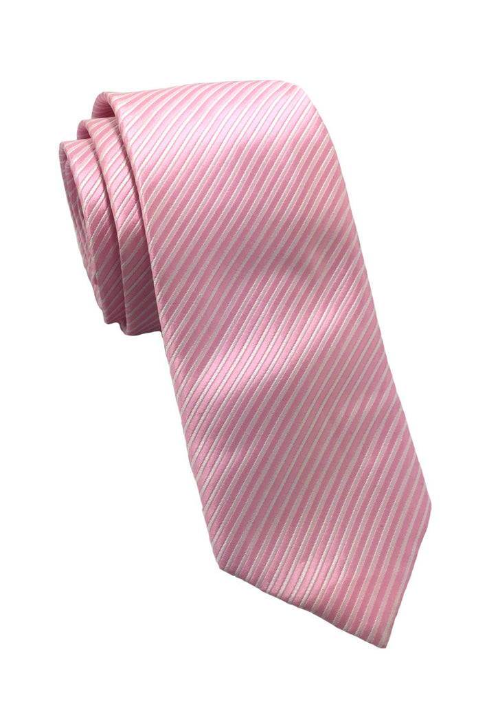 Regalia Series Pale Pink Stripes Polyester Fabric Tie