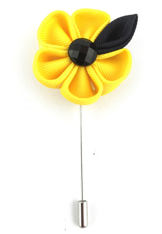 Yellow Fabric Flower Lapel Pin