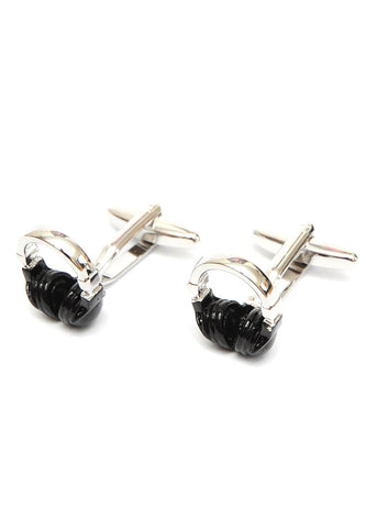 Black & Silver Headphones Cufflinks