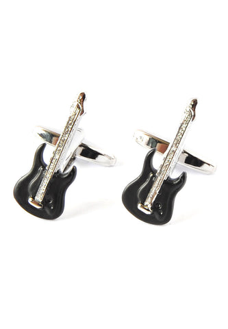 Black & Silver Stylish Electric Guitar Cufflinks