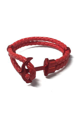 Grapple Series Red PU Leather Red Anchor Bracelet