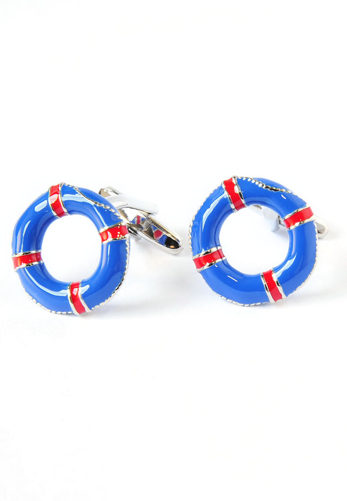Blue & Red Life Belt Lifebuoy Cufflinks
