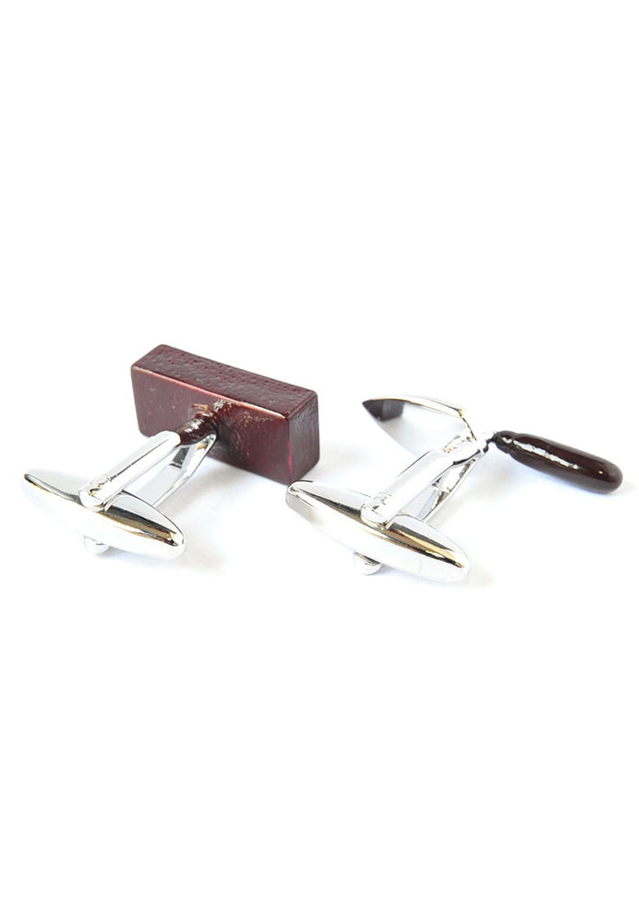 Bricklayers Coloured Trowel & Brick Brown Cufflinks