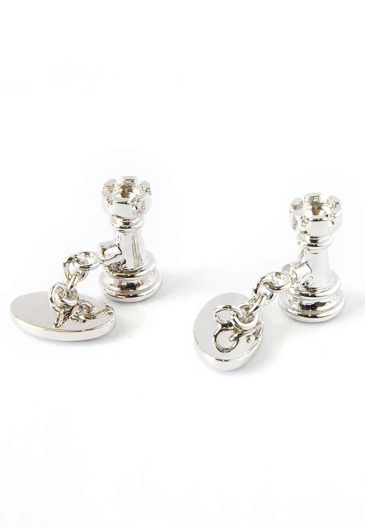 Castle Chess Piece Chain Cufflinks