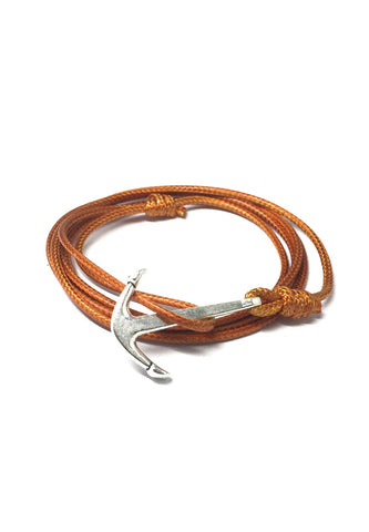 Ore Series Orange Cord Silver Anchor Bracelet