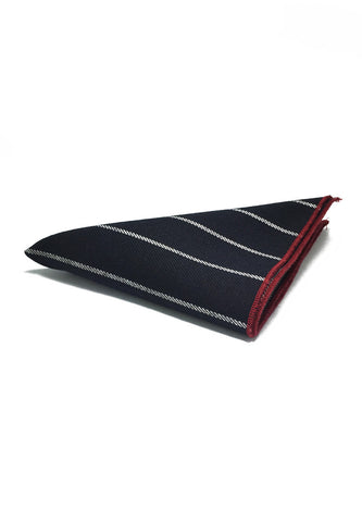 Folio Series Dark Blue Stripes Viscose Pocket Square