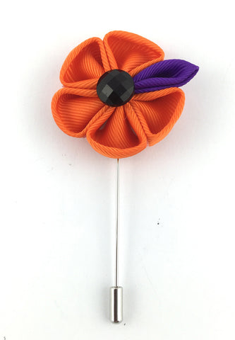 Orange Fabric Flower Lapel Pin