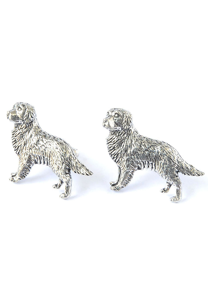 English Made Golden Retriever Pewter Cufflinks