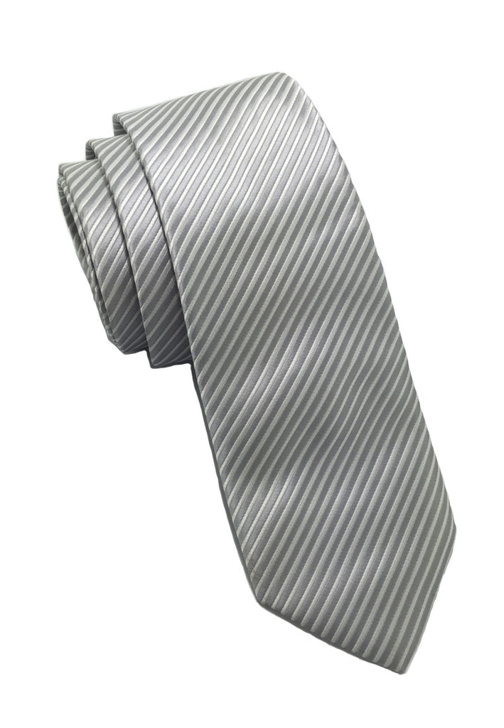 Regalia Series Silver Stripes Polyester Fabric Tie