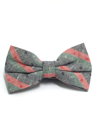 Probe Series Green, Red and Black Striped Pattern Design Cotton Pre-tied Bow Tie
