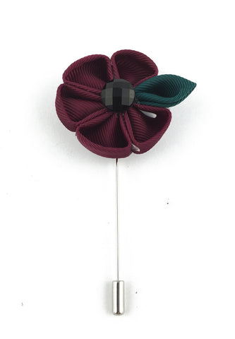 Magenta Fabric Flower Lapel Pin