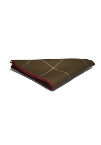 Folio Series Brown Checked Viscose Pocket Square