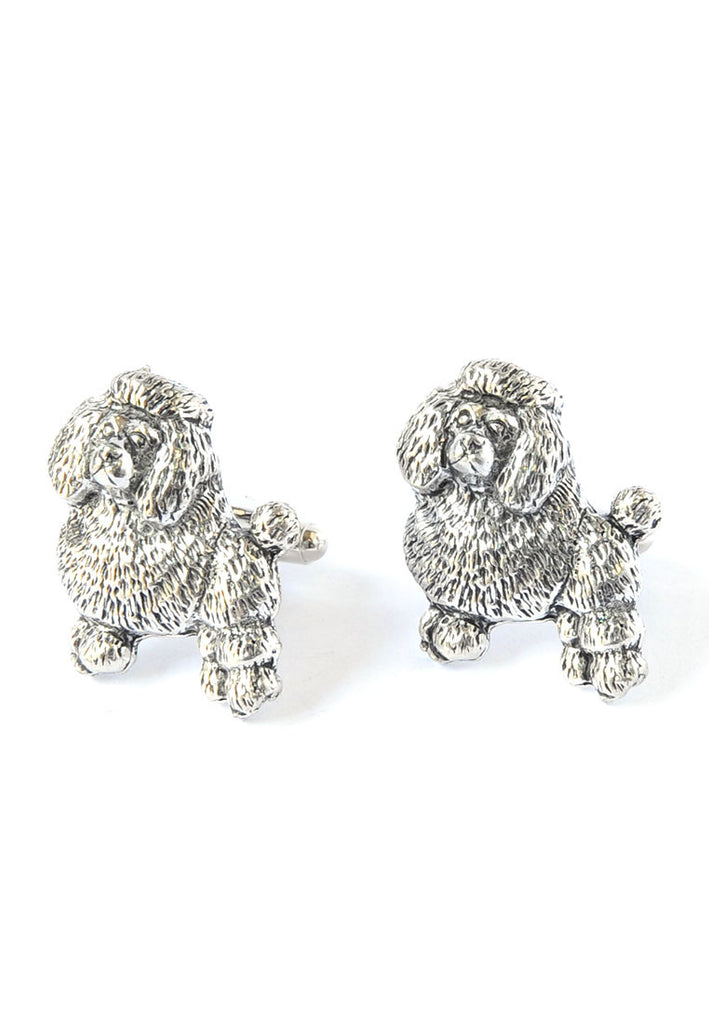 English Made Poodles Pewter Cufflinks